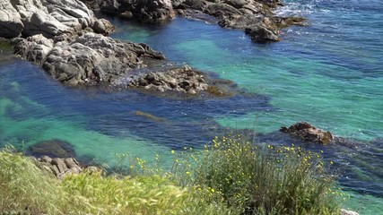 Fotomurales - Sunny landscape of Cala Estreta in Costa Brava, Spain.