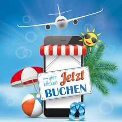 Blue Sky Smartphone Jetzt Buchen Plane Flip-Flops Sunshade