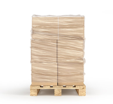 Cardboard boxes wrapped polyethylene on wooden pallet isolated on white background. 3d illustration