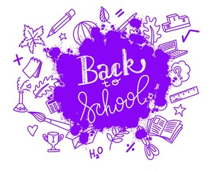 illustration back to school lerreting with hand drawn doodles