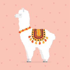 cute drawn llama or alpaca