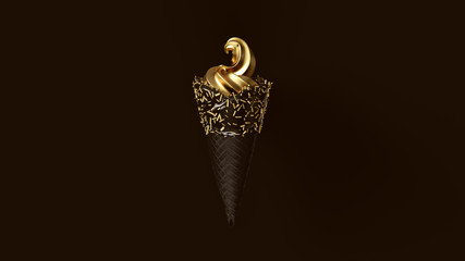 Gold Leaf Ice Cream with Black Icing and Gold Sprinkles 3d illustration