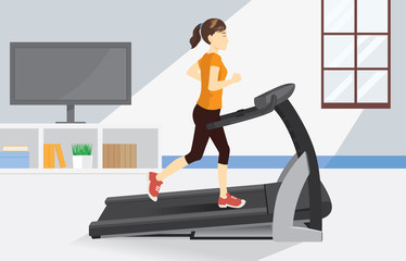 Woman running on electric treadmill at home. Illustration about comfortable exercise with Equipment.