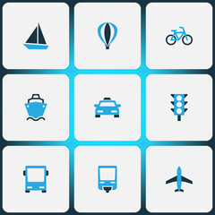 Transport icons colored set with balloon, bus, aircraft and other autobus