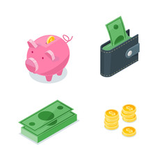 Money 3d isometric style vector icons set. Isolated finance, banking, investment and commerce symbol.