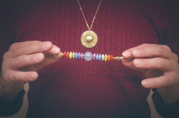 Scepter of the seven chakras for healing meditation.