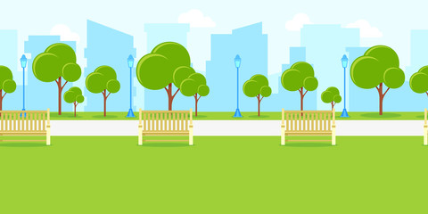 City park landscape, horizontal seamless background. Vector urban life illustration. Summer or spring cityscape