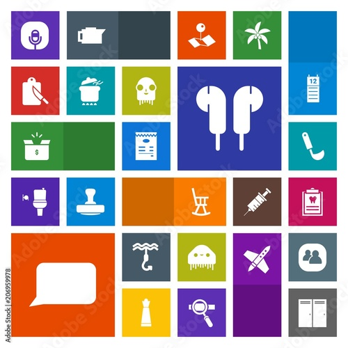 Modern, simple, colorful vector icon set with audio, ladle, dinner