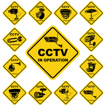 CCTV warning yellow sign. Video surveillance sticker isolated on a white background. Vector icon security camera set.