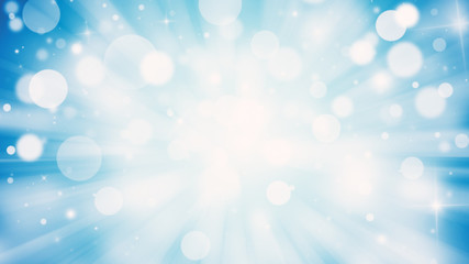 Blue glitter sparkles rays lights bokeh Festive Elegant abstract background.