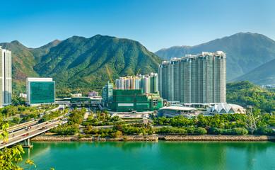Türaufkleber Hongkong View of Tung Chung district of Hong Kong on Lantau Island