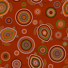 Australian Aboriginal Art. Sea turtles. Seamless pattern. Background brown
