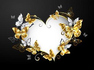 Heart with gold butterflies