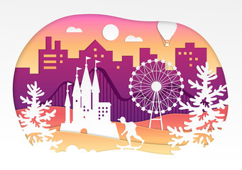 Theme park - vector paper cut illustration