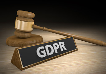 Legal concept for laws and lawsuits related to the confusing European GDPR privacy law, 3D rendering