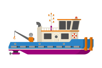 Vector sea or river towboat pusher ship in flat style