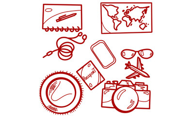 travel hand-drawn icon illustration with sunglasses, hat, camera, passport, headphones, cellphone, notebook, pen, airplane and map