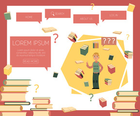 Cheerful student caucasian man standing in casual clothing holding book with textbooks, questions flying around poster. Male character and education, college concept. Vector isolated illustration