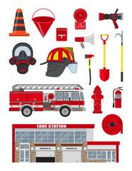 Vector set of fireman equipment.