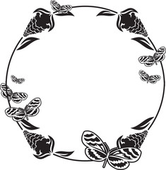 Fllower frame with butterflies silhouettes