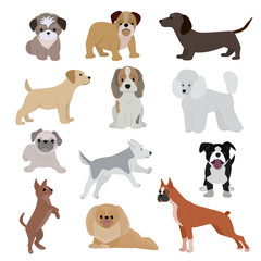 Dog vector cute cartoon puppy illustration home pets doggy different breed and poses bulldog, hand small doggie terrier, maltese-dog