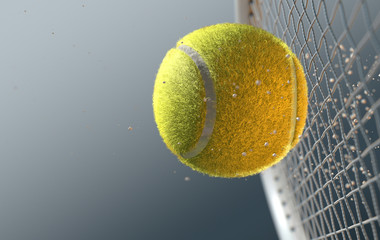 Tennis Ball Striking Racqet In Slow Motion