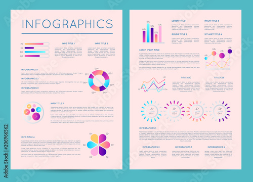 business brochure with colorful infographics financial data