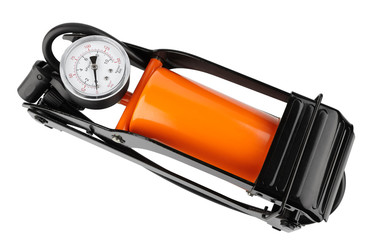 orange foot pump for a car with a manometer, top view isolated on white