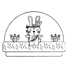 grunge cute rabbit animal with feathers and arrows