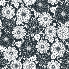 Floral seamless pattern background. Ornament with stylized flowers, leaves and twirls. Classical monochrome design