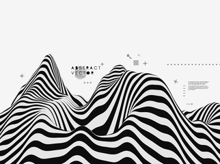 Landscape background. Terrain. Black and white background. Pattern with optical illusion. 3D Vector illustration. Wall mural