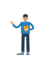 Young man with book waving hand. Literature concept, bookstore advertising, knowledge and education vector illustration in flat style.