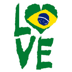 Love Brazil, America. Vintage national flag in silhouette of heart Torn paper grunge texture style. Independence day background. Good idea for retro badge, banner, T-shirt graphic design.