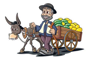 Händler mit Melonen auf Esel Karren, Cartoon