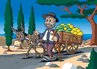 Händler mit Esel und Melonen auf Karren geht zum Markt, Cartoon
