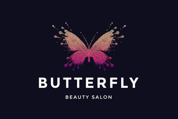 Butterfly. Logo for beauty salon with colorful red-pink butterfly and text Butterfly. Emblem template for branding, design elements. Sign, label, identity, badge, creative brand. Vector Illustration