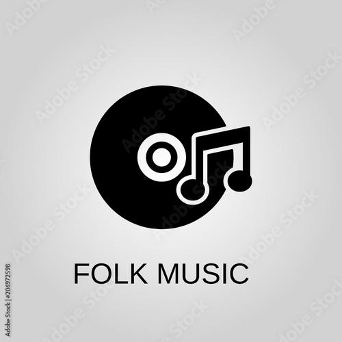Folk Music Icon Folk Music Symbol Flat Design Stock Vector