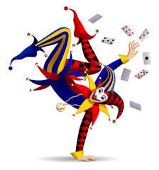 Dancing Joker with playing cards on white
