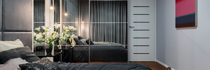 New bedroom with mirrored wardrobe