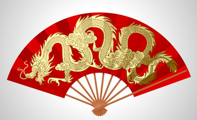 Red chinese fan with gold decorative gragon isolated on white
