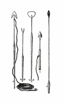 Harpoons and other tools used in the whale fishery (4 - early harpoon for shooting with a cannon) (from Das Heller-Magazin, July 3, 1834)