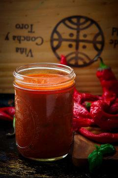 Homemade Spicy Italian Arrabbiata Sauce in the glass jar