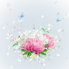 Vector floral bouquet with flying petals and butterflies