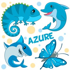 A set of wild marine animals, reptiles and an insect azure color for children and design. Image of a shark, dolphin, butterfly and chameleon, lizard.