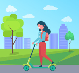 Girl with Rucksack Riding on Kick Scooter Vector