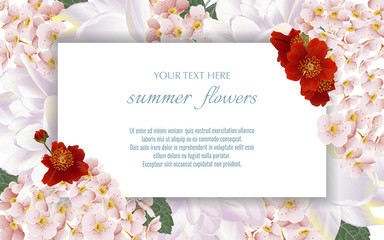 Vector banners set with summer flowers.Template for greeting cards, wedding decorations, sales. Spring or summer design.