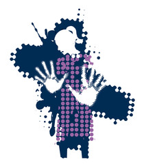 Young woman, fear of violence. Grunge stylized woman silhuette with arms in defensive position. Vector available