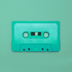 Cassette tape close up, blank for customisation of label; obsolete music technology for nostalgic creative design web & print