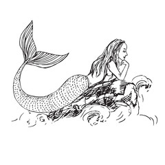 Mermaid laying on rock in sea waves, hand drawn outline doodle sketch, black and white vector illustration