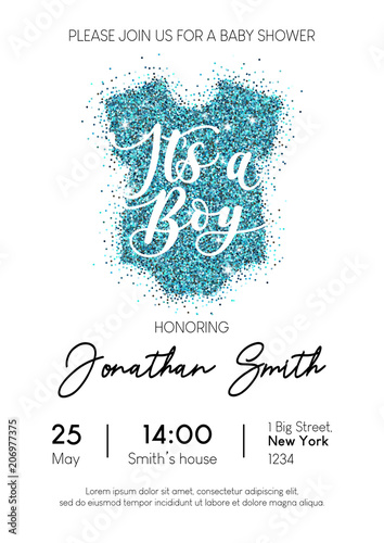 Boy Baby Shower Invitation Card With Blue Glittered Baby